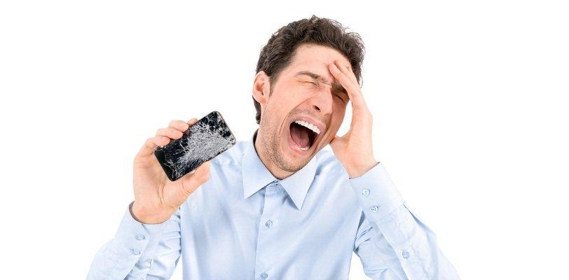 Handy reparatur Handyshop, hier sieht ihr einem schreienden Mann